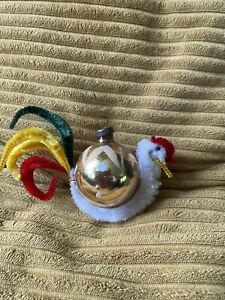 Vintage Kitsch Cockerel Chicken Pipe Cleaner Christams Glass Bauble