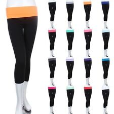 Capri Yoga Leggings Pants Contrast Color Foldable Waistband Stretch S M L