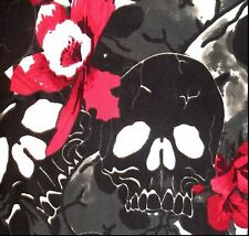 Black White Monochrome Skull Dark Pink Flower Nylon Stretch Fabric BTY