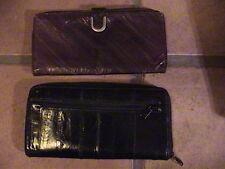 """2 genuine eel skin ladies wallets black and brown 8"""" x 4"""" super vintage"""
