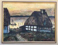 Ölgemälde Rupprecht von Vegesack Alte Katen am Bodden im Abendlicht 76 x 96