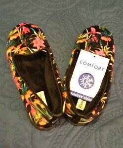 Comfort Women DEARFOAMS Memory Foam Velour Black Floral Slippers Shoe NEW 6 Smal
