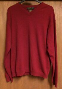 Daniel Bishop Men's Sz. L Deep Red 100% 2-Ply Cashmere V-Neck Sweater
