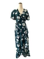 Iris Maxi Green Floral Dress Size 8 Boho Wrap Around Midi Ruffle Flutter Sleeve