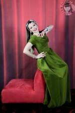 Stunning Olive Green True Vintage Velvet Gown / Dress - Size Small