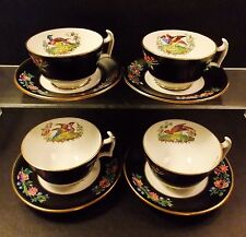 FOUR (4) ANTIQUE SPODE CHELSEA BIRD CUPS AND SAUCERS BLACK MULTI COLORS GOLD