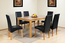 OAK FINISH SOLID WOOD RECTANGULAR DINING TABLE RANGE WITH FAUX LEATHER CHAIRS