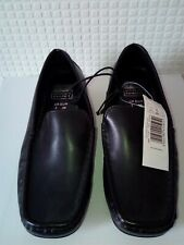 womens ladies new black flat leather look ultimate comfort loafer u.k size 3