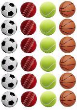 24 SPORTS BALLS Edible Wafer Rice Paper Cupcake Toppers SOCCER Tennis BASKETBALL
