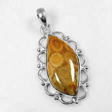 5.18 Gram 925 Sterling Silver Natural 100% Pure Fossil Pendant Lovely Jewelry $