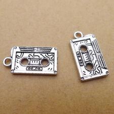 10pcs Charms Cassette Tape Tibetan Silver Beads Pendant DIY Craft 23*13mm