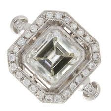 2.31ct Certified Emerald Cut Diamond Antique Platinum Engagement Ring