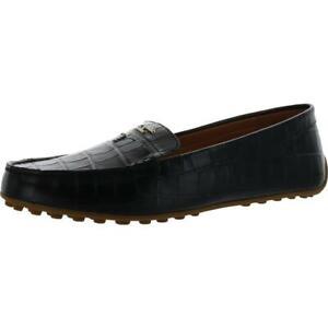 Kate Spade Womens Deck Black Embossed Loafers Shoes 9.5 Medium (B,M) BHFO 1493
