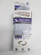 Copper Fit Compression Ankle Length Sport Socks 3pr UNISEX SMALL/MED BRAND NEW!