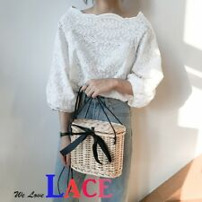 Women Korean Style White Lace 3/4 Sleeve Top Blouse  #105