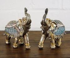 Small Steel Blue and Gold Elephants Set Ornament Gift Figurines 55291