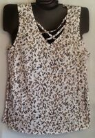 Lane Bryant Fun Soft Flirty Cotton Blend LEOPARD Strappy Neck Tank NWT 348915