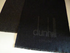 Dunhill mens cashmere & merino scarf navy blue grey NEW winter wool luxury