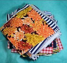 "Lot Of 136  Quilt Blocks Squares   7""x7"" colorful, florals, stripes, checks,"