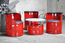3 x Stuhl + Tisch Sitzgruppe 200 Liter Neu Fass Ölfass Barrel Pulverbeschichtet