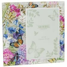 Botanical Sweet Pea Colourful Butterfly Glass Photo Frame New Boxed 50390