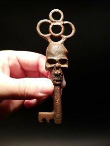 Antique Vintage Style Cast Iron Skull Skeleton Key