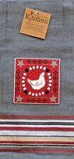 Chicken Kitchen Towel | Cotton Applique | Farm Hen Country l Gray Red
