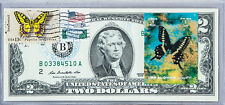 Paper Money US Dollar Bills National Currency Note $2 2009 Unc Stamped Butterfly