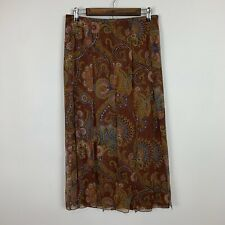 NWT David Meister paisley silk midi skirt 8 business career casual chic boutique