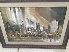 RARE BEAUTIFUL ORG FRAMED BUCKINGHAM FOUNTAIN CHICAGO PAINTING ROBERT LEBRON