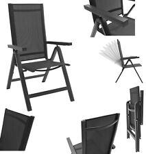 Gartenstuhl Aluminium Hochlehner Alu klappbar verstellbar schwarz Textilene Holz