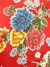 Oil Cloth YardageTablecloth Craft Fabric RED MUM MOST POPULAR