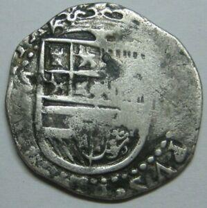 PHILIP II 1500s 2 REAL COB SEVILLA SPANISH SILVER COLONIAL ERA GENUIENE COB
