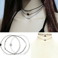 3pcs/set Fashion Womens Silver Multi-layer Chain Choker Statement Bib Necklace