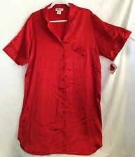 SHADOWLINE HEART TO HEART RED BUTTON DOWN NIGHT SHIRT GOWN NIGHTIE SIZE M NWT