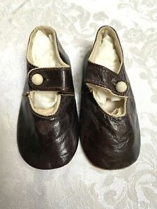 Pair Antique Leather Never Worn Baby Shoes