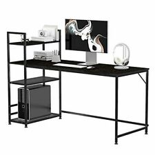63 inch Computer Desk with 4-Tier Storage Shelves, Office Work Desk for Small Sp