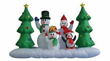 8 Foot Long Christmas Inflatable Snowman Family and Penguin Tree Yard Decoration