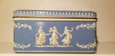 Blue and White Vintage Tin Floral Ladies Goddess Design Hinged Made in Holland
