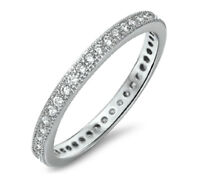 925 Sterling Silver 3MM STACKABLE ETERNITY DESIGN CLEAR CZ BAND RING SIZES 4-10