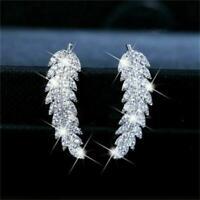 Vintage Women 925 Silver White Topaz Leaf Ear Stud Dangle Drop Earrings Gift-