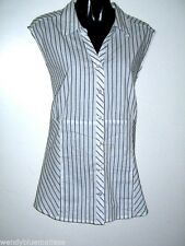 Millers 22 Cotton/Poly/Elastane White with Black Stripes Sleeveless Blouse