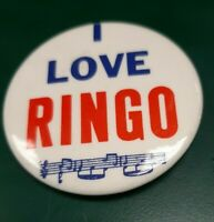 "I Love RIngo Button Pin 2 1/8"" Collectible  Pin USA Beatles Memorabilia"