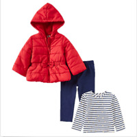NEW Little Me Girls 3-Piece Jacket, Top, Pant Outfit Set Red- Different Sizes