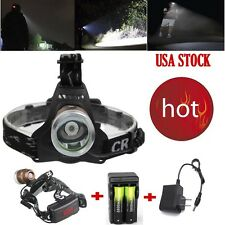 US Tactical CREE XML T6 3 Modes 12000LM Headlight LED Headlmap*Charger+2X18650AD