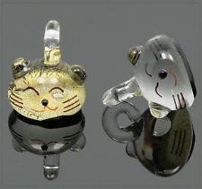1x Lampwork Glas Anhänger Charm Katze Schmuck Basteln DIY 16mm mu615