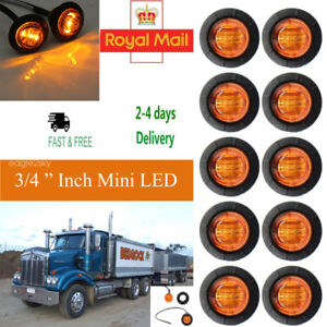 10X Amber Yellow Small Round Side Marker lights 3 LED Button lamps lorry 12V