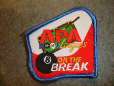 APA 8 ON THE BREAK PATCH AMERICAN POOLPLAYERS OLD