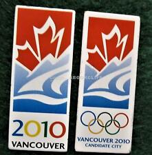 2 x Vancouver 2010 Olympics BID Pins CANDIDATE CITY & City of VANCOUVER 2 Pins