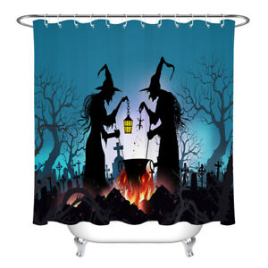 """Bathroom & Hooks Polyester Fabric Shower Curtain Set Halloween Witch Poison 72"""""""
